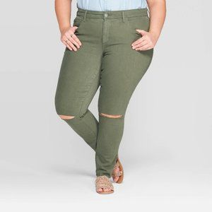 Universal Thread Olive Green Distressed Jeggings